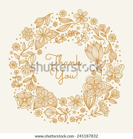 Wedding background with wreath. Round floral frame. Template for romantic greeting card, postcard, invitation. Vector illustration. - stock vector