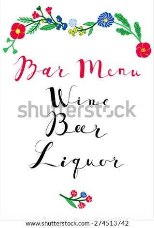 Wedding  Bar menu template. Bright ornamental floral bar menu. Wine, Beer, Liquor. Vintage hipster retro wedding background.Wedding vector calligraphy and lettering.  - stock vector