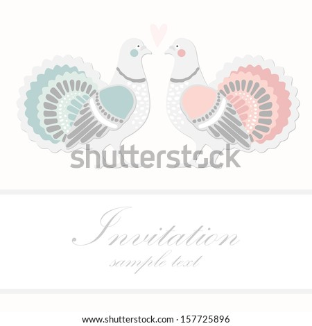 Wedding birthday card or invitation with dove pigeon, greeting postcard, vector illustration - stock vector