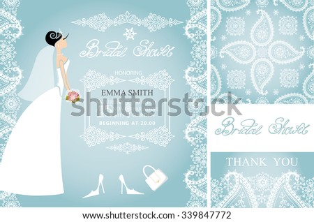 Wedding Bridal shower invitation set.Beautiful Bride,wedding dress,lace border,paisley seamless pattern,retro design.Winter season save the date,thank you card.Holiday Vector,fashion illustration - stock vector