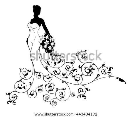 Wedding bride silhouette, the bride in a white bridal dress gown holding a floral bouquet of flowers and an abstract floral pattern - stock vector