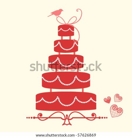 wedding cake 2 - stock vector