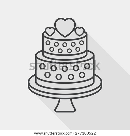 wedding cake flat icon with long shadow, line icon