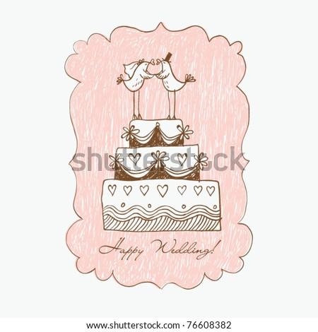 Wedding cake, hand draw - stock vector