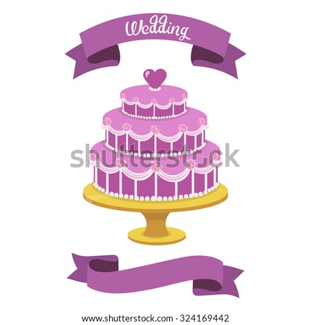 Wedding cake isolated on white background with ribbons. Vector illustration.
