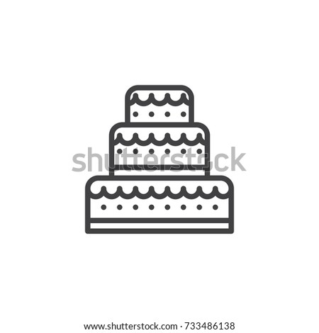 Wedding Cake Line Icon Outline Vector Stock Vector 733486138 - Wedding Cake Outline