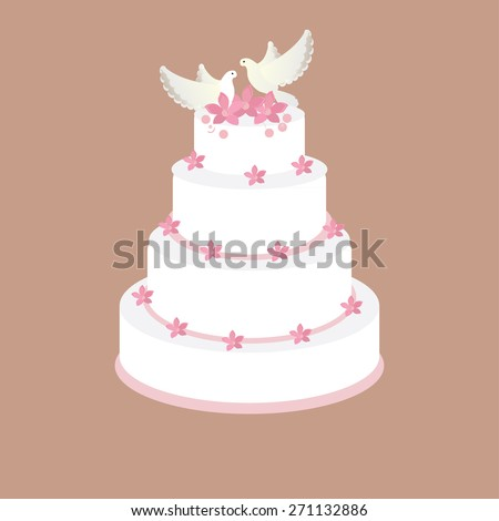 Wedding cake with pink flowers and two pigeons vector on brown background, wedding invitation .