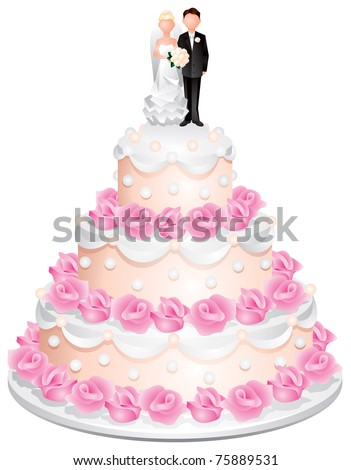 Wedding cake with the groom and bride on top and cream roses