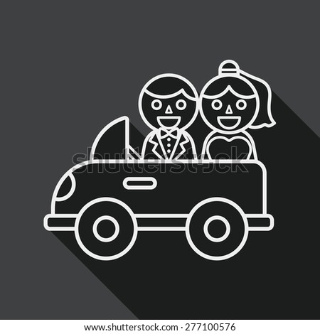 wedding car flat icon with long shadow, eps10, line icon