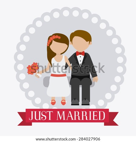 Wedding card design over white background, vector illustration.