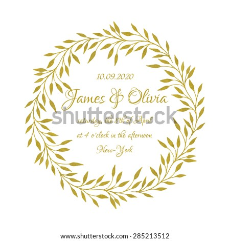 Wedding card design with handpainted watercolor laurel wreath in shades of gold on white background. Artistic elegant bridal design. - stock vector