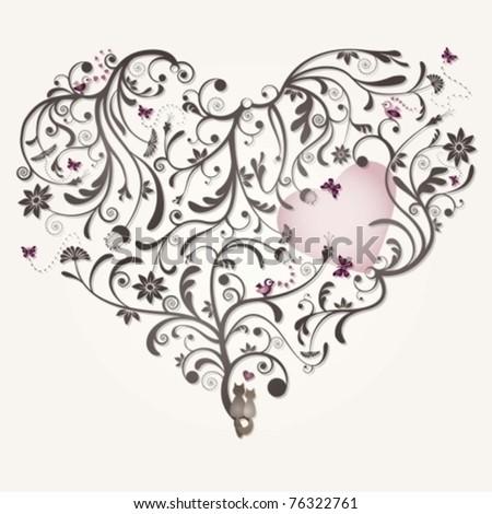 Wedding card heart - stock vector