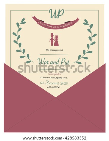 wedding card, illustration and vector