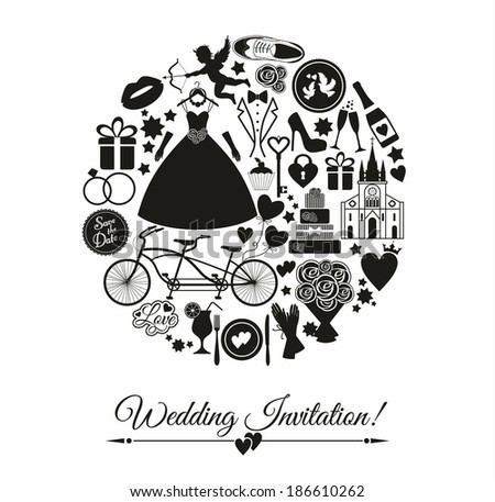Wedding card invitation - stock vector
