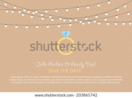 Wedding Card Invitation with diamond ring in Vector - stock vector