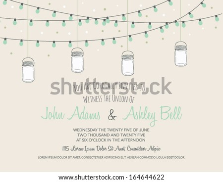 Wedding Card Invitation with Mason Jars Hanging in Vector - stock vector