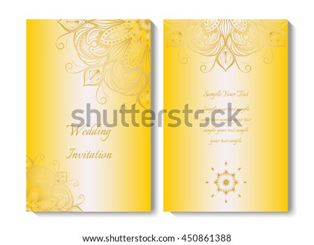 Wedding card invitation round ornamental pattern stock vector wedding card or invitation round ornamental pattern yellow color eps 10 contains transparency stopboris Images