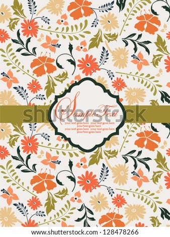 Wedding card or invitation with abstract floral background - stock vector