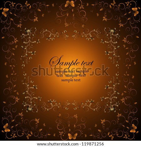 Wedding card or invitation with abstract floral background. Abstract greeting card. - stock vector