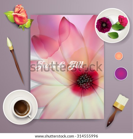 Wedding card or invitation with abstract floral background for wedding agency. Elegance pattern with mesh flowers. Floral illustration in modern minimal style for your business. - stock vector