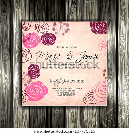 Wedding card or invitation with abstract floral background. Greeting card in grunge or retro style. Elegance pattern with flowers roses, floral illustration in vintage style Valentine. Classic - stock vector