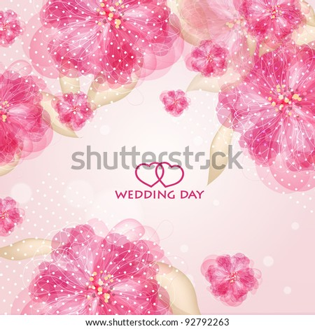 Wedding card or invitation with abstract floral background. Greeting card in grunge or retro style. Elegance Seamless pattern with flowers roses, floral illustration in vintage style - stock vector