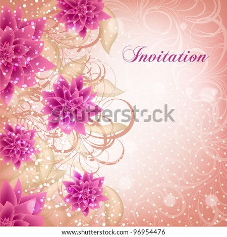 Wedding card or invitation with abstract floral background. Greeting card in grunge or retro style. Valentine. - stock vector