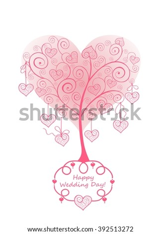 Wedding card with beautiful lacy pink tree - stock vector