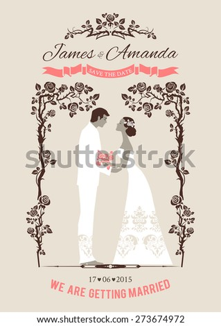 Wedding card with bride and groom. Elegant vintage style - stock vector