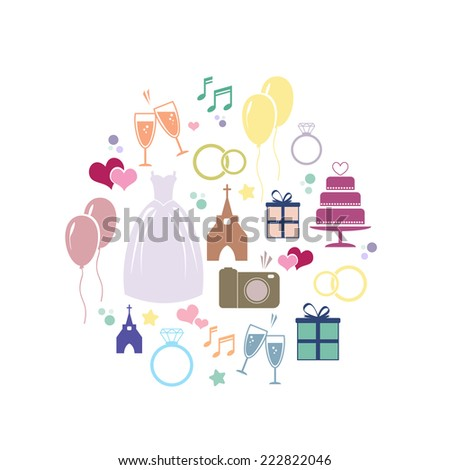 Wedding Card with colorfull icons - stock vector