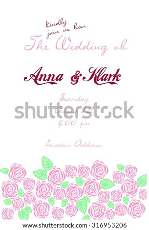 wedding card with gentle flowers