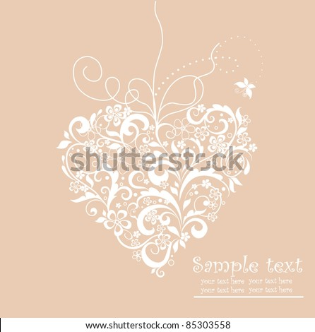 Wedding card with heart shape