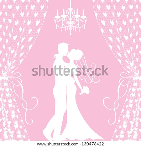 Wedding card with kissing groom and bride, curtains and chandelier - stock vector