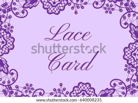Wedding Card With Purple Lace Border On Lilac Background