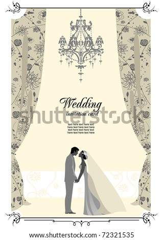 Wedding card with space for text - stock vector