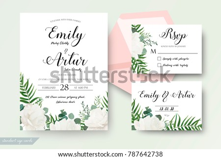 Wedding cards floral design invite invitation stock vector royalty wedding cards floral design invite invitation rsvp response card save the date stopboris Choice Image