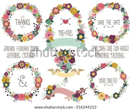 Wedding Celebration Invitation Floral Wreaths and Design Elements Vector - stock vector