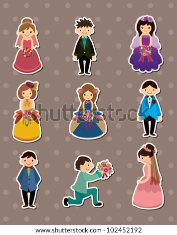 Wedding ceremony - bride and groom stickers - stock vector