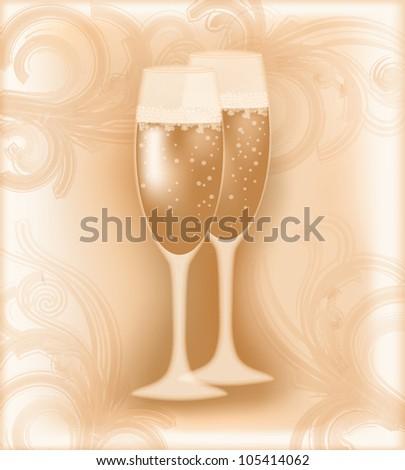 Wedding champagne, vector illustration - stock vector