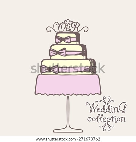 Wedding collection. Wedding cake. Vector illustration