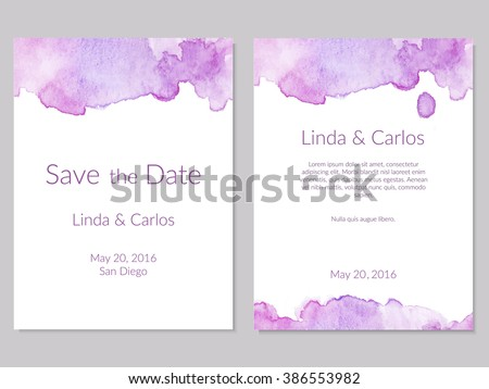 Wedding Collection. Wedding invitations with watercolor elements - stock vector