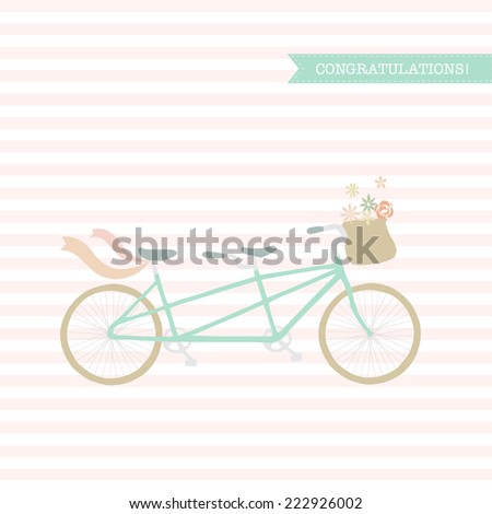 Wedding, congratulations invitation with bicycle. Save the date. - stock vector
