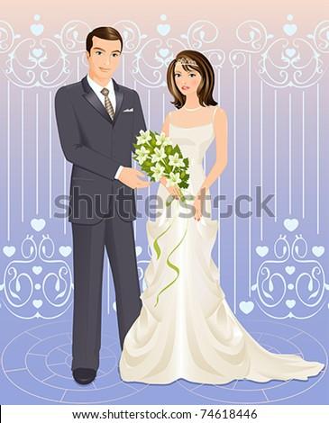 Wedding couple - stock vector