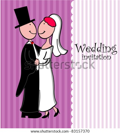 Wedding couple,dress and card. - stock vector