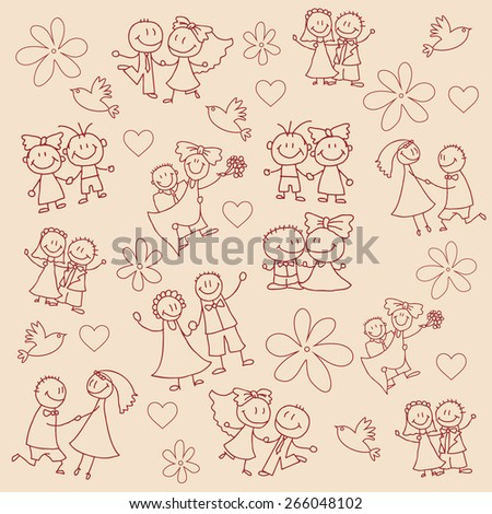 Wedding couple for your design  - stock vector