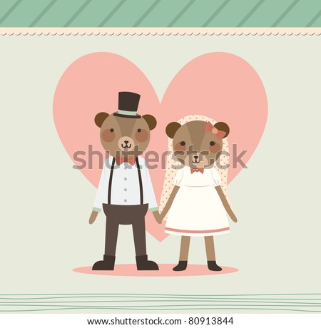 Wedding Couple Holding Hand. Two Lovely Bears in Retro Style. Just Married. - stock vector