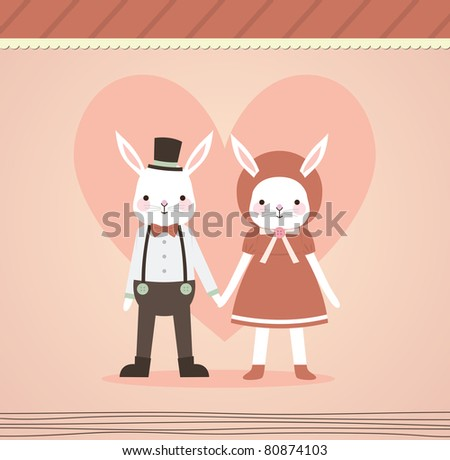 Wedding Couple Holding Hand. Two Lovely Rabbits in Retro Style. Just Married. - stock vector