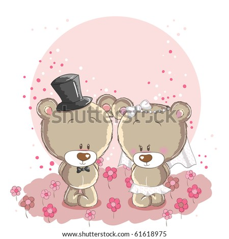 Wedding couple - little cute bears - stock vector