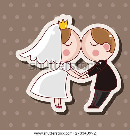 wedding couple theme elements - stock vector
