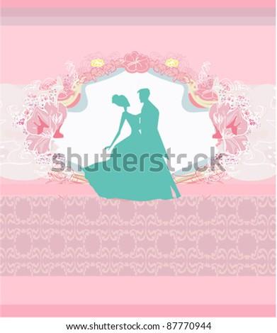 wedding dancing couple background - stock vector
